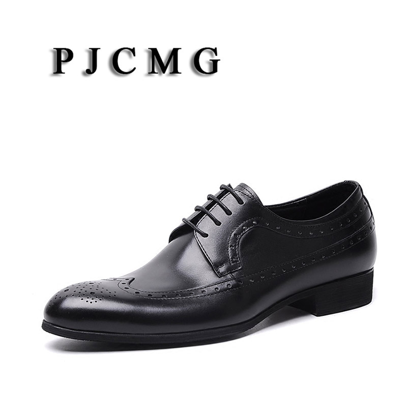 PJCMG New Black/Brown Oxfords Formal Mens Dress Lace-Up Pointed Toe Carved  Genuine Leather Business Men Wedding ShoesPJCMG New Black/Brown Oxfords Formal Mens Dress Lace-Up Pointed Toe Carved  Genuine Leather Business Men Wedding Shoes