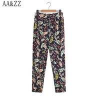AAและZZวินเทจผู้หญิงดอกไม้ม้าลายพิมพ์กางเกงแฟชั่นปุ่มบินกาง