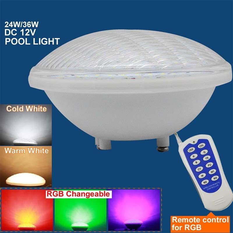Par56 Swimming Pool Light AC 12V 24V DC12V DC24V RGB 24W 36W Underwater led lamp IP68 Waterproof Outdoor Spotlight Pond Fountain