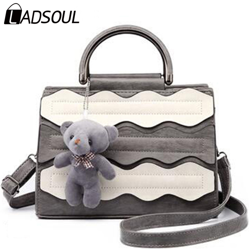 Ladsoul 2017 The New Women Messenger Bag Simple Stitching Package Fashion Trend Female Bag All-match Leisure Package hl2066/g