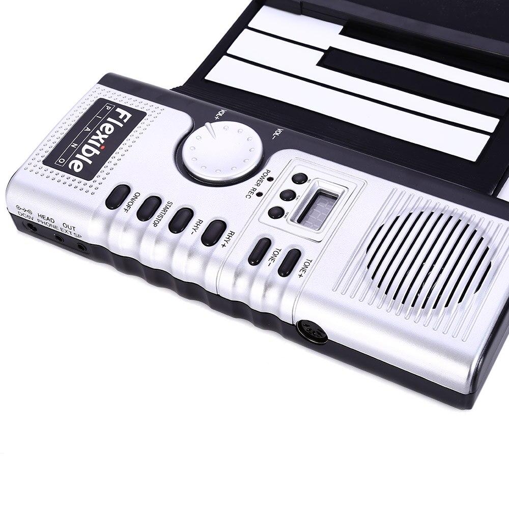 Portable 61 touches retroussable clavier souple 61 touches Silicone MIDI numérique clavier souple Piano Flexible électronique retrousser Piano - 6