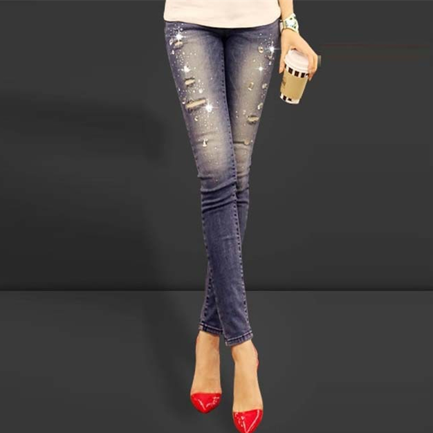 New 2019 Blue ripped women jeans long Slim Fit denim pants diamonds  rhinestones holes skinny pants stretch lady jeans Women cdee722836bb