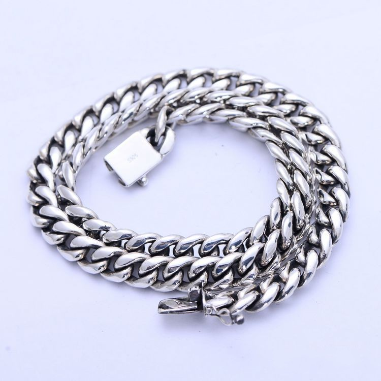 BOCAI silver jewelry wholesale sterling silver fashion simple smooth curb chain necklace xh056484w pin money men