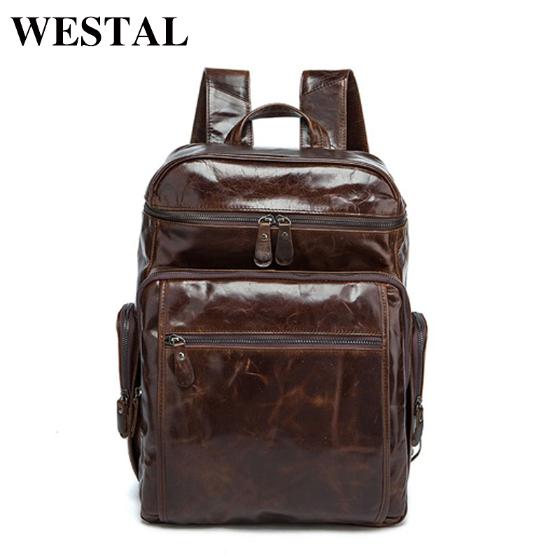 все цены на WESTAL Men Backpacks 100% Genuine Leather Men's Travel Bag Fashion Man Casual Backpack Leather Business Bag Male Backpack 8963