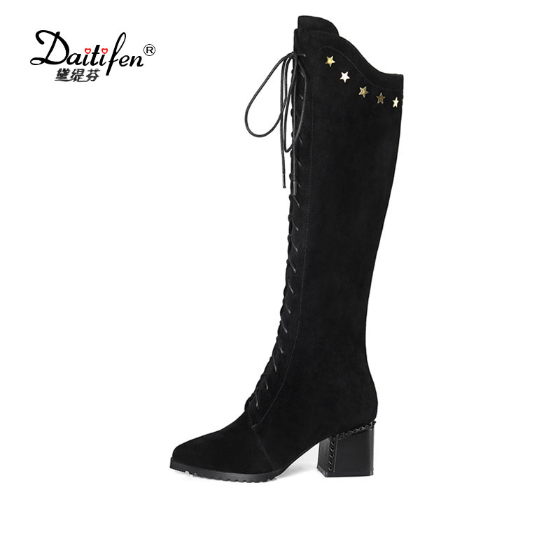 Daitifen 2018 Women Fashion Knee High Boots Lace Up Design Pointed Toe Cow Suede Fashion Square High Heel Women Boots Size 34-42 cicime summer fashion solid rivets lace up knee high boot high heel women boots black casual woman boot high heel women boots