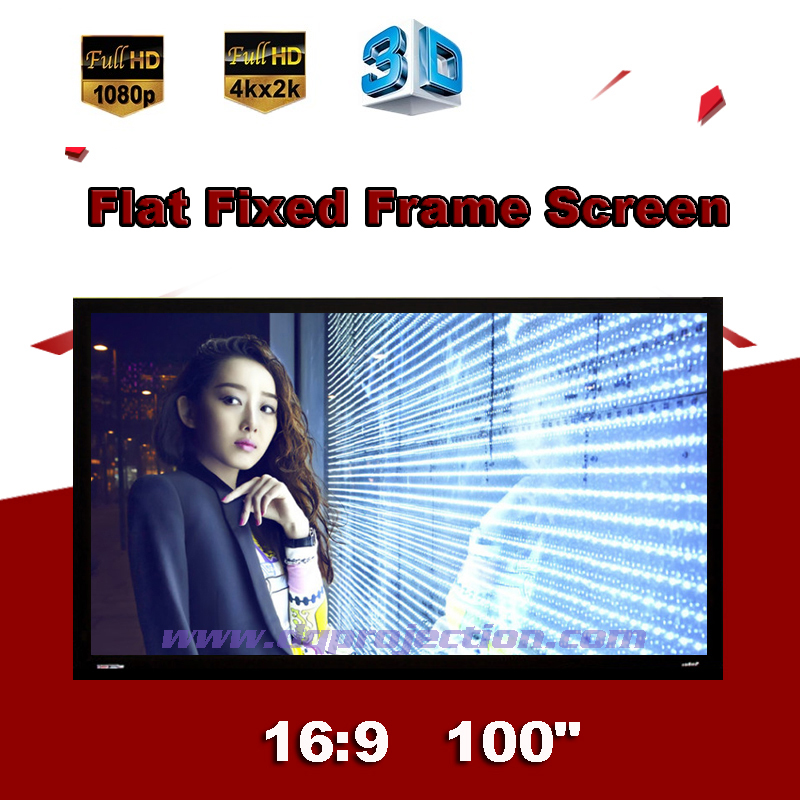 100 inch 16:9 Luxury Flat Fixed Frame Projection Screen DIY Wall Mounted highly Brightness For Home Cinema 3D Display low price 92 inch flat fixed projector screen diy 4 black velevt frames 16 9 format projection for cinema theater office room