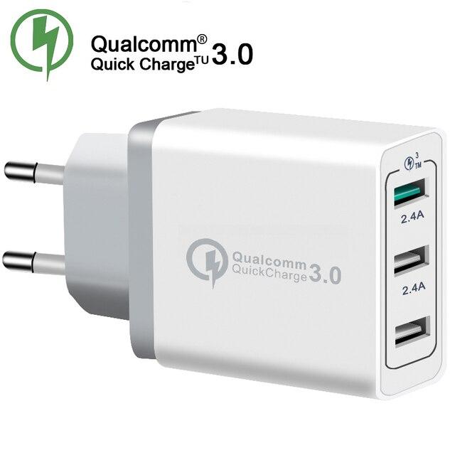 XHF-30W 3 puertos cargador rápido QC 3,0 cargador de teléfono USB cargador rápido UE/EE. UU. Enchufe cargador de teléfono móvil para teléfono para Samsung S8 S9