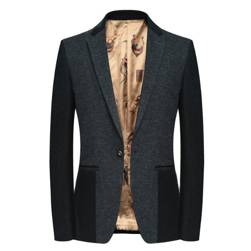 De laine Blazer Pour Hommes Mince De Mode Printemps Hommes Laine Blazer Mâle Costume Décontracté Veste Manteau D'affaires SHIERXI