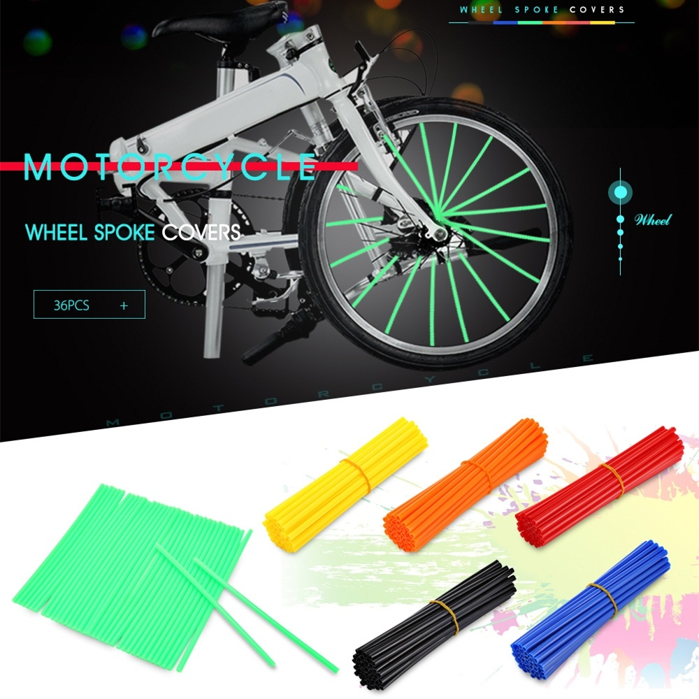 Motorcycle Axle Rims tube Dirt Bike Wheel Rim Cover Spoke Skins Wrap Tubes Decor Protector 36Pcs-in Rims from Automobiles & Motorcycles