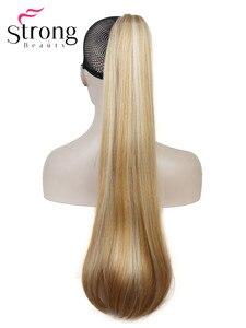 Image 1 - StrongBeauty długa prosta klamra kucyk Hairpiece przedłużanie włosów 26 cali syntetyczna odporność na ciepło wybór kolorów