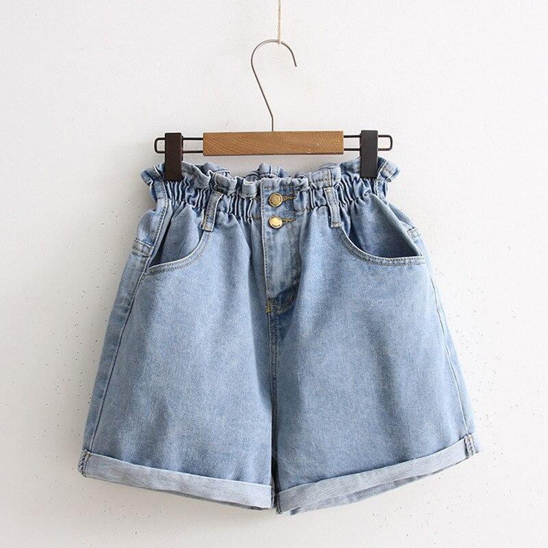 Women Summer Shorts Size Plus S-5XL Hot Pnats Wide Leg Denim Shorts Female Causal Loose Elastic Waist Short Jeans Feminino