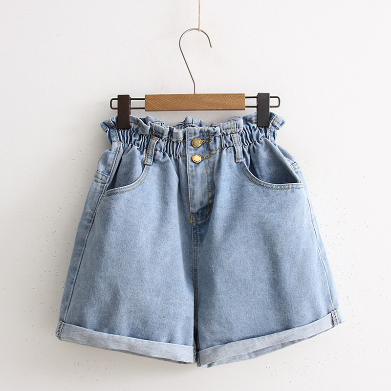 Women Summer   Shorts   Size Plus S-5XL Hot Pnats Wide Leg Denim   Shorts   Female Causal Loose Elastic Waist   Short   Jeans Feminino