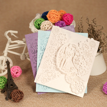 20pcs Romantic Laser Cut Wedding Invitation Card Groom Bride Carved Pattern Wedding Card Hollow Out Wedding Banquet Party Supply(China)