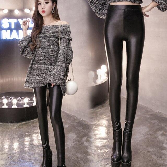 6xl plus big size shorts women spring autumn winter 2016 bermuda feminina black PU leather pants legging female A1228