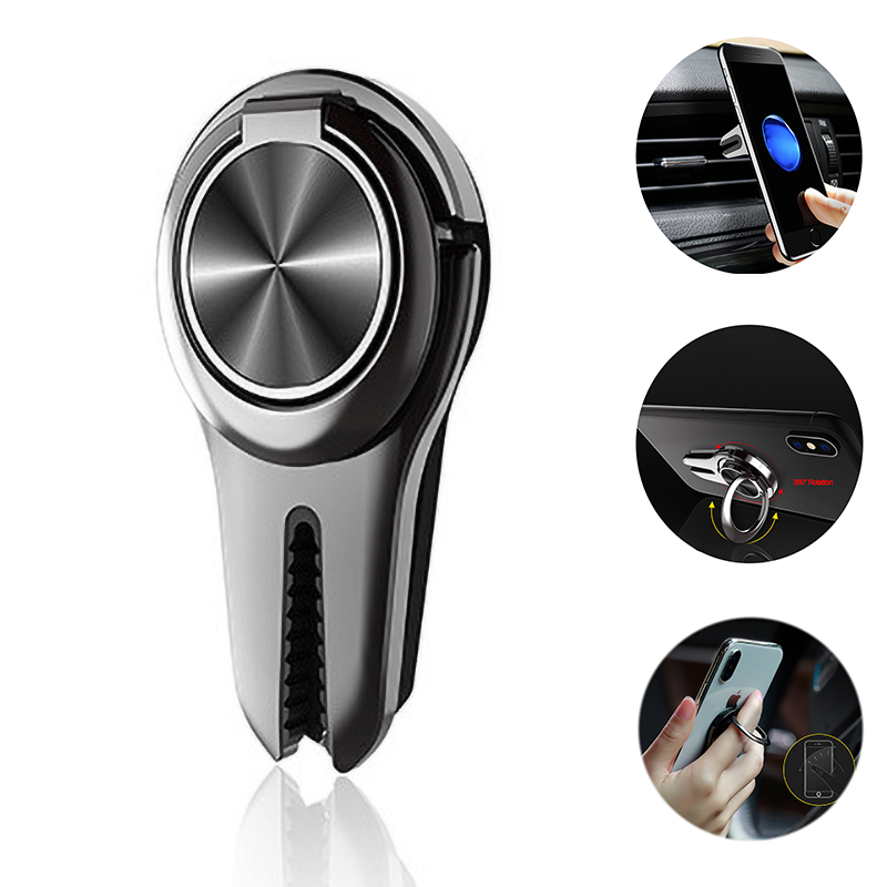 Multi-Function Universal Finger Ring Holder In Car Air Vent Mount Support Mobile Cell Smart Phone Stand For IPhone 8 Samsung S8