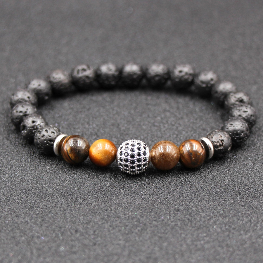 HOBBORN Trendy Natural Stone Women Bracelet 8mm Tiger Eye Lava Handmade Silver Gold Crystal Ball Charm Men Pulsera