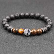 HOBBORN Trendy Natural Stone Women Bracelet 8mm Tiger Eye Lava Handmade Silver Gold Crystal Ball Charm Men Pulsera
