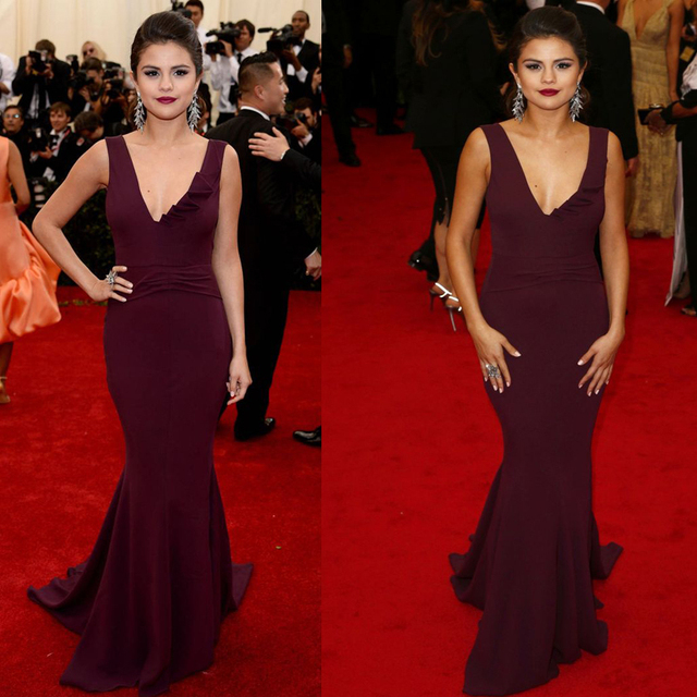 Y Inspired Selena Gomez Met Gala Celebrity Red Carpet Evening Dresses Mermaid V Neck Burgundy