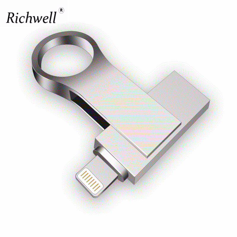 Richwell Usb Flash Drive For Iphone 8/7/7plus/6/6s Plus/5/5S/5C/ipad 8gb 16gb 32gb Pen Drive 64gb 128GB OTG Usb 2.0 Memory Stick