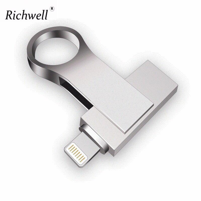 Richwell clé Usb pour iphone 8/7/7 plus/6/6 s Plus/5/5 S/5C/ipad 8gb 16gb 32gb lecteur de stylo 64gb 128GB OTG usb 2.0 bâton de mémoire