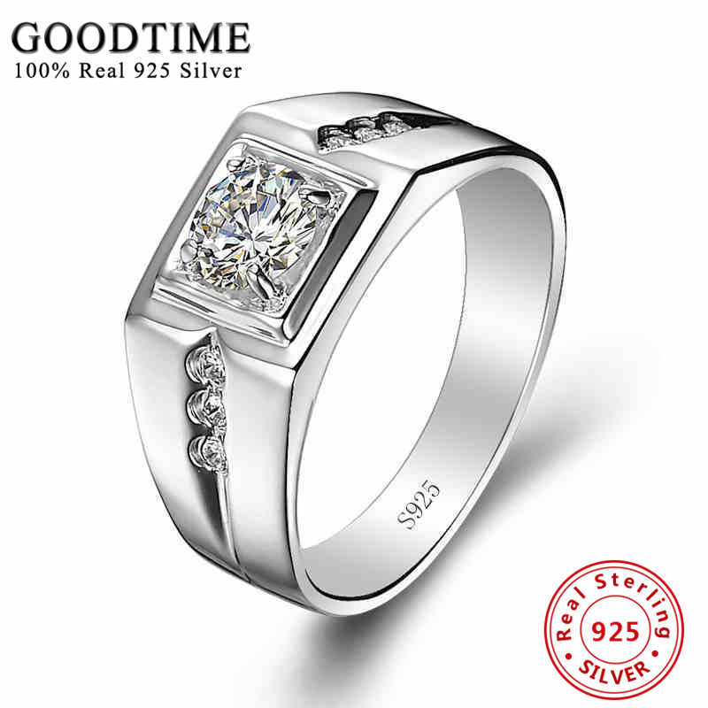 4b5bb6c100812 Sterling Silver Rings Men 925 Sterling Silver Jewelry Solid Silver 925  Zirconia Ring For Men Engagement Ring Classic GTR036