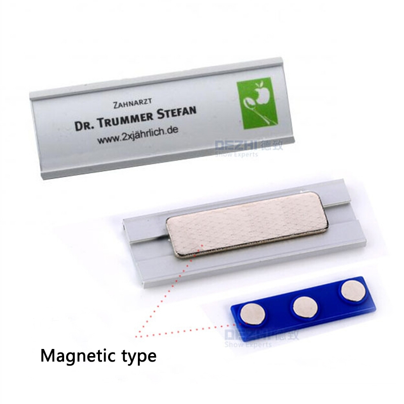 DEZHI-Arc Shape Pin/Magnetic Style Office Name Holder Tag,Metal Material Strong Magnetic More Fastener Name ID Tag Badge