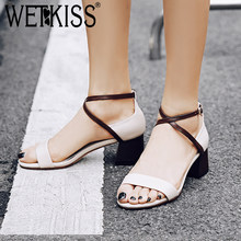 WETKISS Summer High Heels Women Sandals Cross Tied Open Toe Footwear Pu Fashion Casual Ladies Sandals Summer Shoes Women 2018(China)