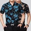 Alta calidad nuevo diseño de moda floral impresión de manga corta de los hombres camisa de vestir de algodón para el verano