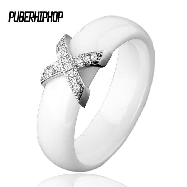 6222f2868d7c Marka Kobiety Wedding Ring AAA Cyrkon Czarny Biały Ceramiczny Pierścień  Prominent X Krzyż Biżuteria Pierścionek Zaręczynowy