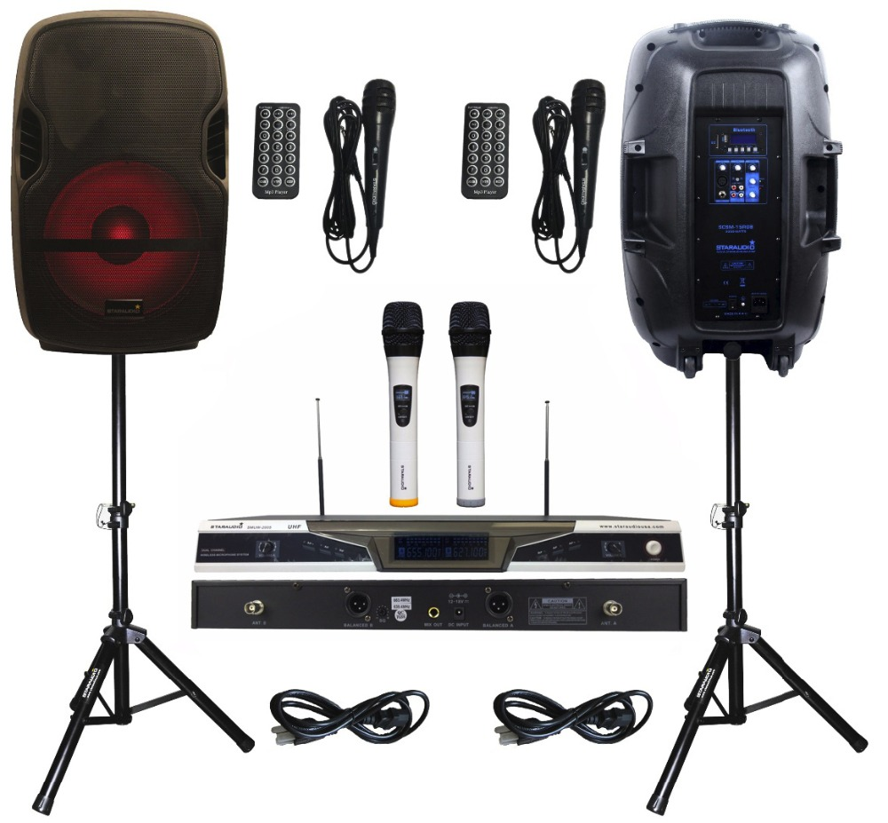 2 STARAUDIO SCSM-15RGB 152000W PA DJ Bluetooth Speakers Stage Karaoke KTV Powered Active W/ LED Light Stand 2CH UHF Mic