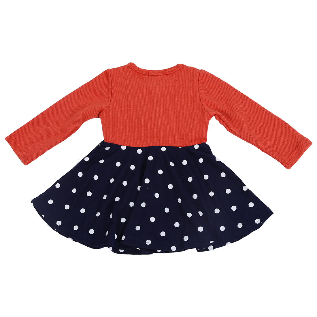 ABWE Best Sale Baby Girl Long-Sleeved Dress Children Flower Dot Princess Dress Orange XL image