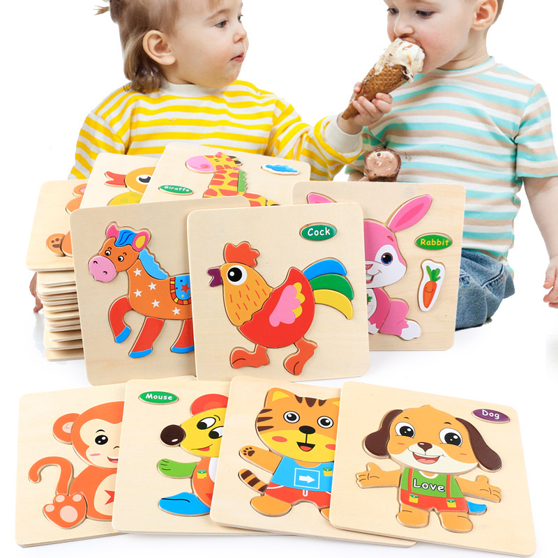 3d Wooden Puzzle Jigsaw Toys For Children Cartoon Animal Vehicle Wood Puzzles Intelligence Baby Early Educational Toy Kids Gift