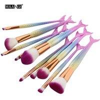 MAANGE 10Pcs Pro Mermaid Makeup Brushes Foundation Mix Powder Eyeshadow Body Contour Corrector Blush Comestic Beauty