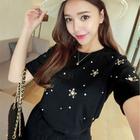 Handmade Heavy Nail Drill 3D Star Diamonds Beading Short Sleeved T Shirt Beaded Tees Rivet Cotton