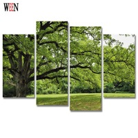 HD Print 4PC Tree Canvas Art Wall Pictures With Framed For Living Room Large Modern Landscape