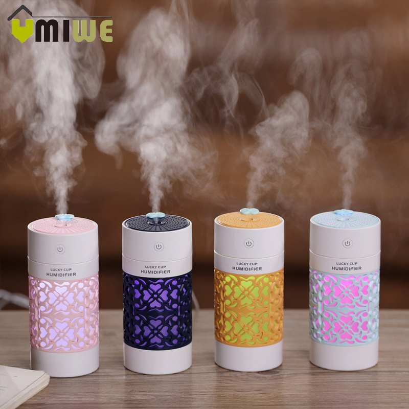 Hollow Air Humidifier With LED Color Night Lamp Mini Fan Aroma Essential Oil Diffuser USB Fogger Mist Maker For Home Office Car