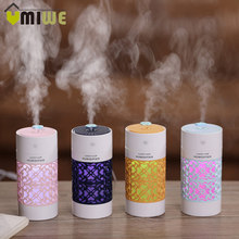 Hohl Luftbefeuchter mit LED Nacht Lampe Mini Fan Aroma Ätherisches Öl Diffusor USB Fogger Mist Maker für Home Office auto(China)