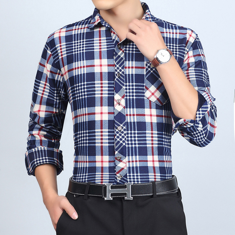 New man warm plaid shirt in the fall and winter of 2018 Add hair thickening long-sleeved shirt of recreational mens clothing