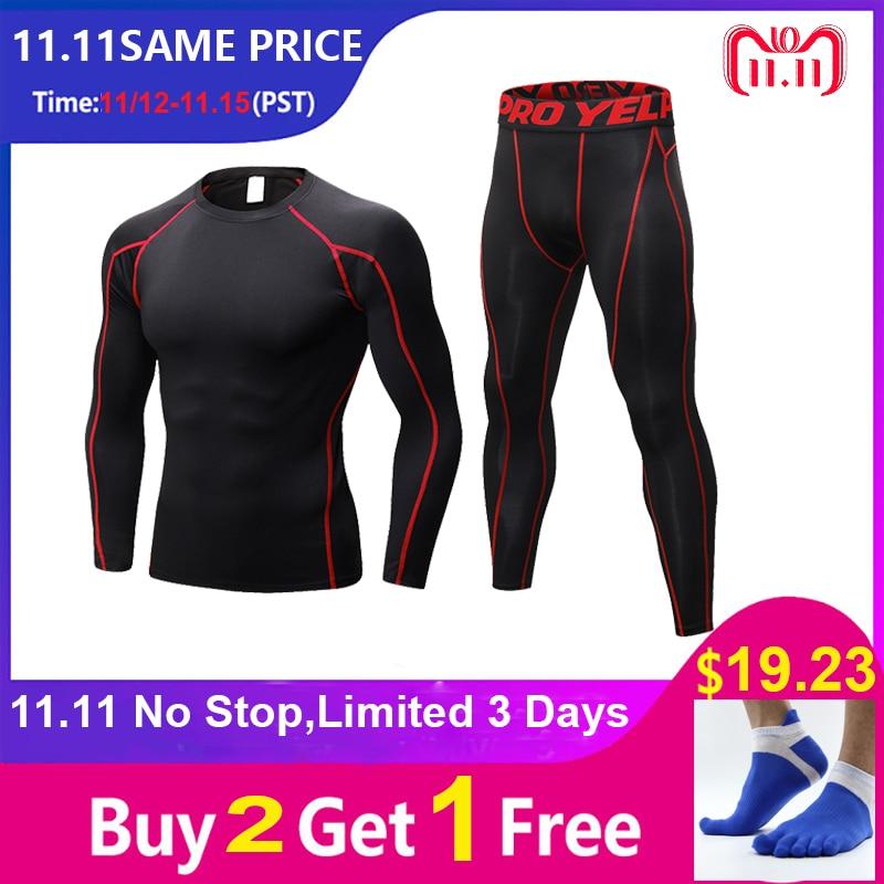 2018 YEL New Compression Tracksuit Fitness Tight Sportswears Running Set T-shirt Leggings Men's Sportswear Demix Gym Sport Suit demix сетка для баскетбольного кольца demix