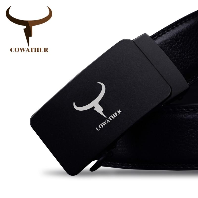 COWATHER 100% cuero de vaca de alto grado para hombres cinturones de lujo buena hebilla automática para hombres cinturones hombre original