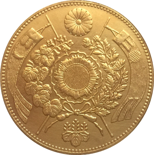 Japan 10 Yen - Meiji 10 years coin copy 29.42mm Gold plated