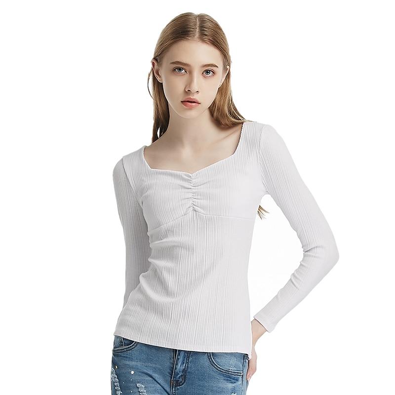 b32d043732692a 2018 Jesień Zima Nowe Slim Cienkie Jednolity Kolor Sexy V-neck Z Długim  rękawem Bawełna Casual Kobiety T-shirt