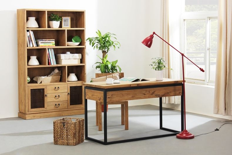 Office Study Desk All Solid Wood Wrought Iron Computer Desktop Tables