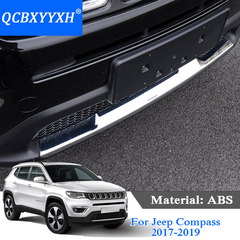 QCBXYYXH ABS Car Styling For Jeep Compass 2017-2019 Car Front bumper trim Decoration Sequins Chrome Exterior Sequin Accessories 2pcs chrome car styling exterior abs front