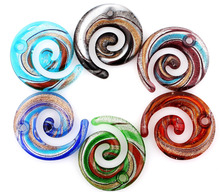 Top Fashion Wholesale 6pcs handmade Murano Lampwork Glass Mixed Color Stripe Snake Pendant Fit Necklace Hot Jewelry gift p0053