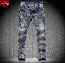 Осень звезда отверстие вышивка мужские джинсы джинсовые брюки прямой персонализированные люксовый бренд моды эластичные брюки англия
