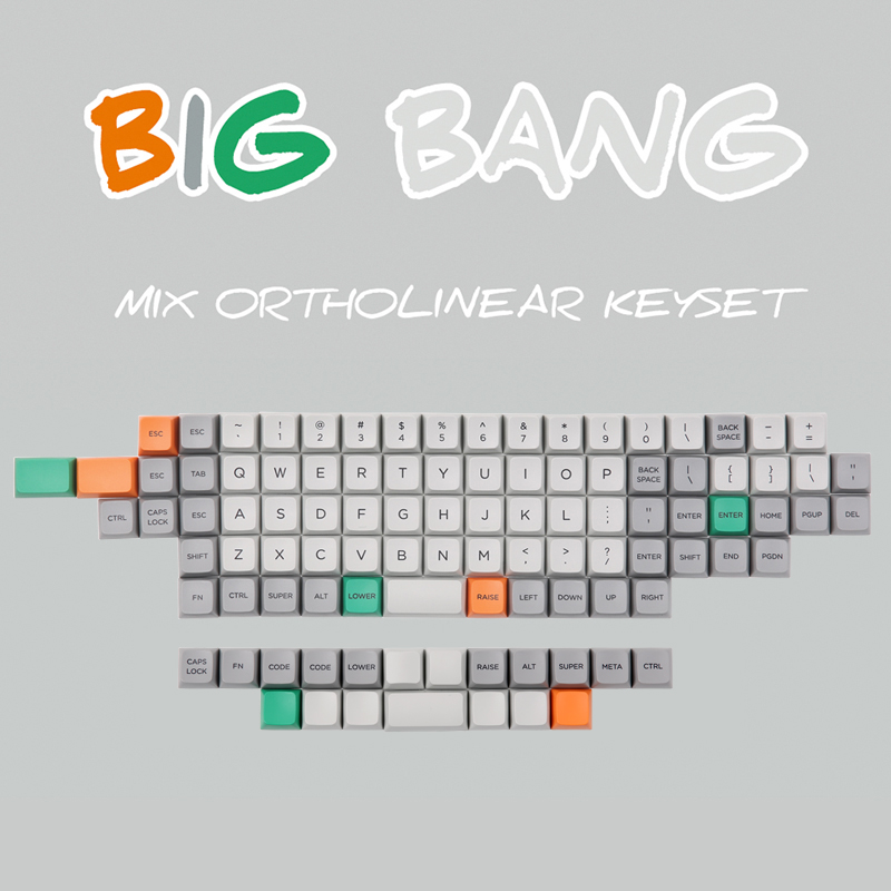 In stock Big Bang MDA Profile Ortholinear Keycaps 101 key Dye subbed MDA Profile Thick PBT Ortholinear Keycaps Fit Cherry MX