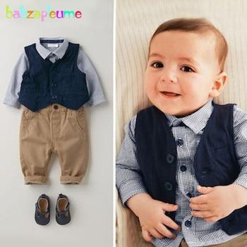 цена на 3PCS/0-18Months/2017 Spring Autumn Newborn Baby Boys Clothes Gentleman Suit Vest+Plaid T-shirt+Pants Infant Clothing Sets BC1060