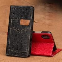 LANGSIDI brand phone caseFlip cowboy card bit models phone case For iPhone X cell phone package All handmade custom