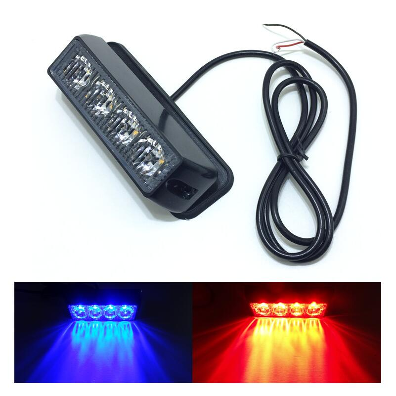 DC12V/24V 4 LED Waterproof Car Truck Emergency Strobe Flash Warning Light Amber Red Blue White Color